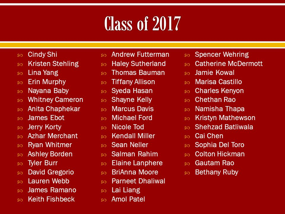 Class of 2017 Cindy Shi Andrew Futterman Spencer Wehring