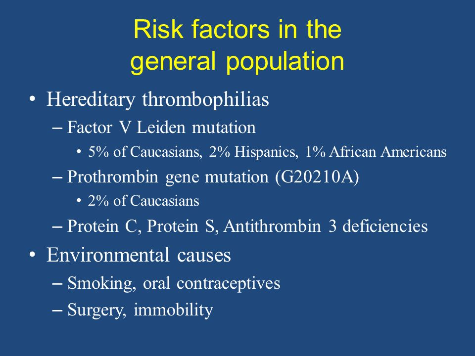 Risk factors in the general population