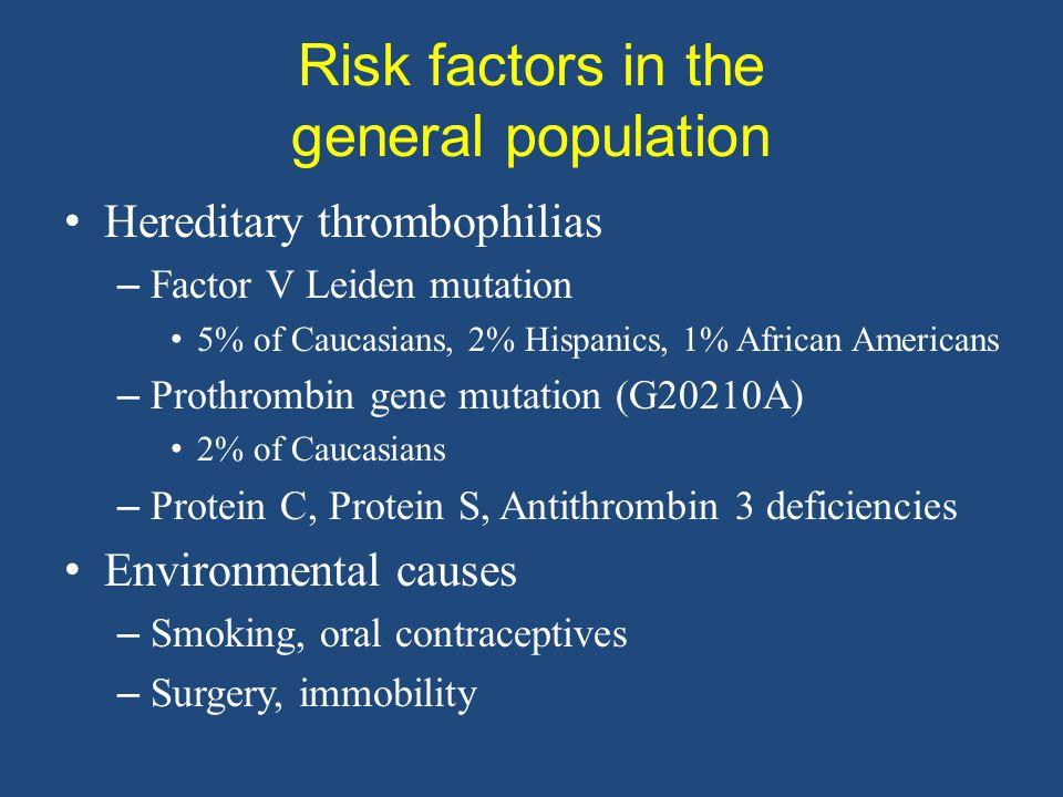 Risk factors in the general population