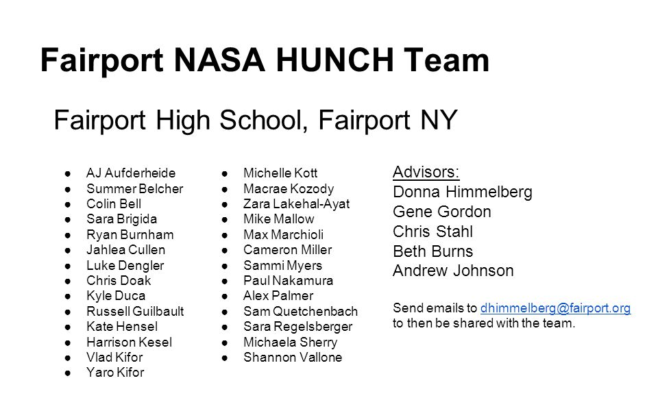 Fairport NASA HUNCH Team
