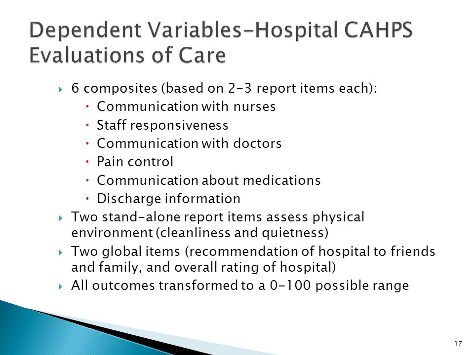 Dependent Variables-Hospital CAHPS Evaluations of Care