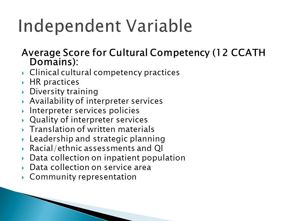 Independent Variable Average Score for Cultural Competency (12 CCATH Domains): Clinical cultural competency practices.