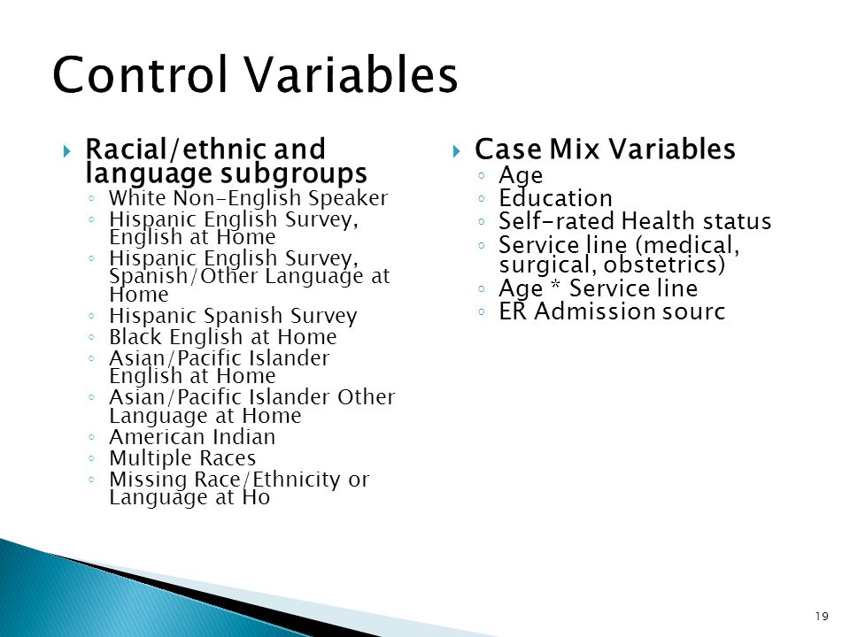 Control Variables Racial/ethnic and language subgroups