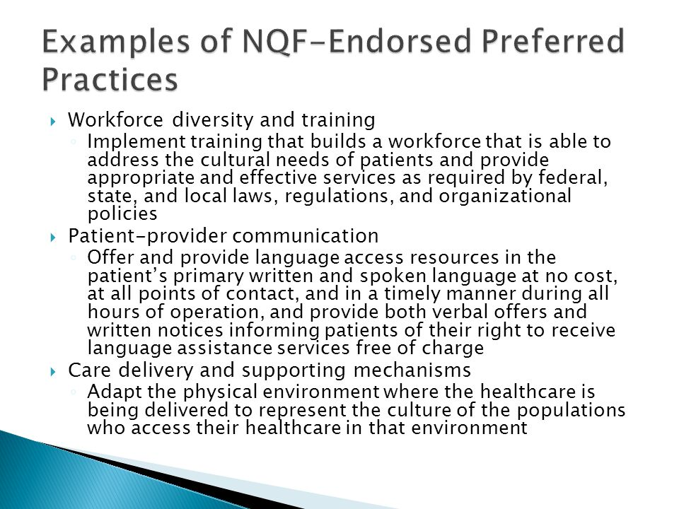 Examples of NQF-Endorsed Preferred Practices