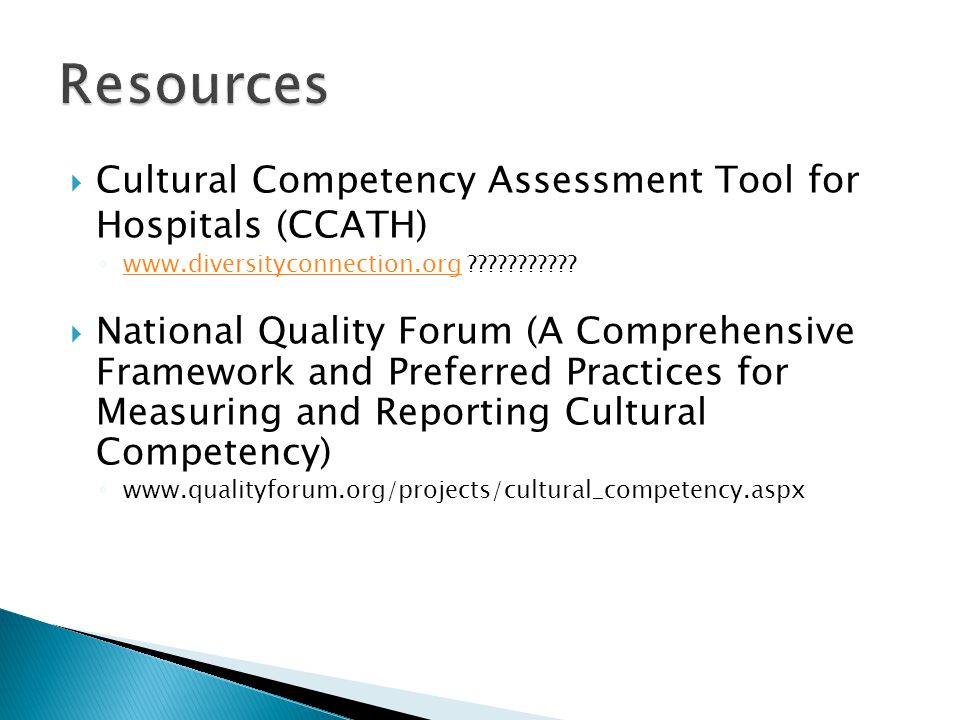 Resources Cultural Competency Assessment Tool for Hospitals (CCATH)