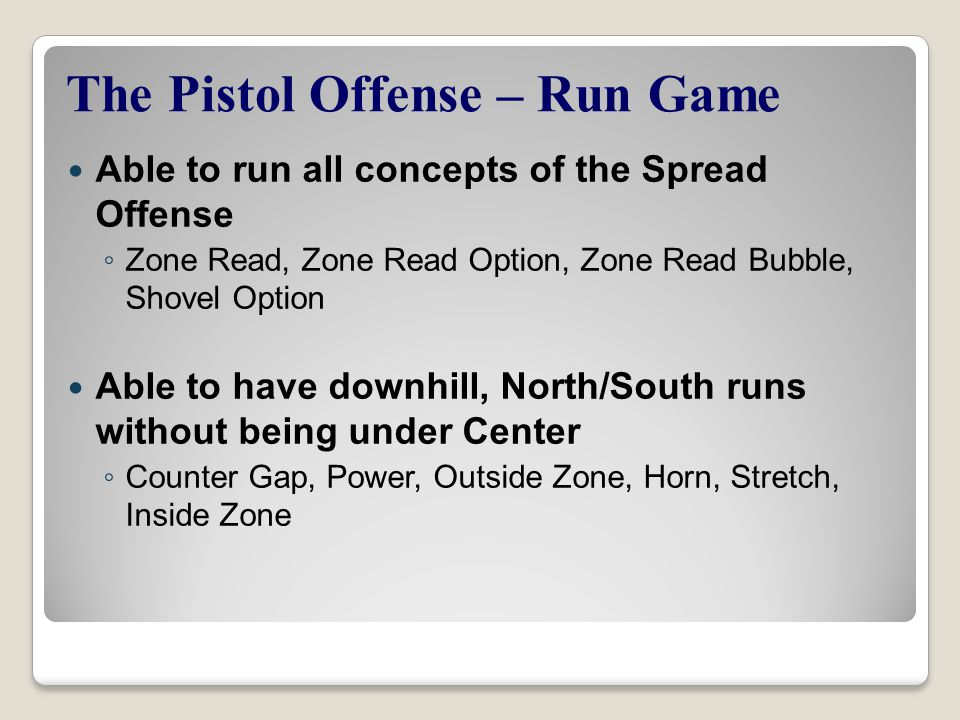 The Pistol Offense – Run Game
