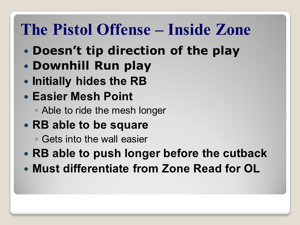 The Pistol Offense – Inside Zone