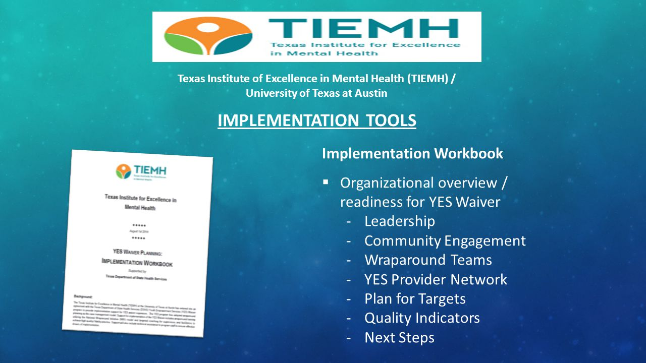 IMPLEMENTATION TOOLS Implementation Workbook