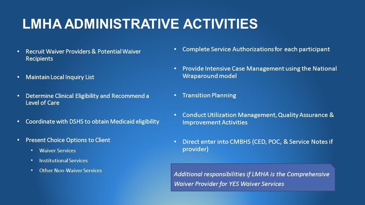 LMHA Administrative Activities