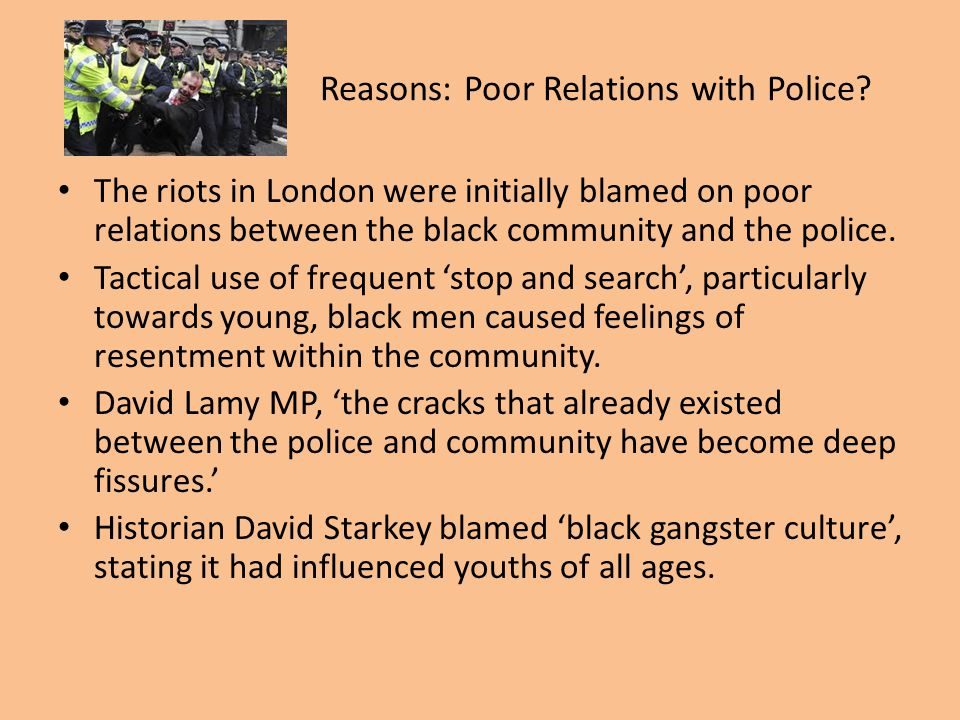 Reasons: Poor Relations with Police