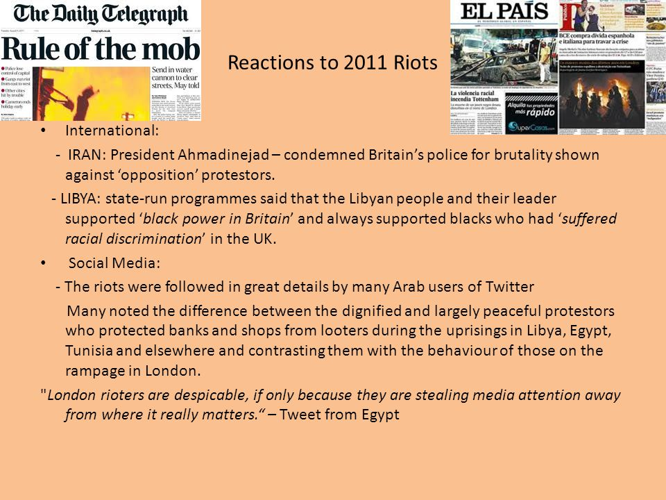 Reactions to 2011 Riots International: