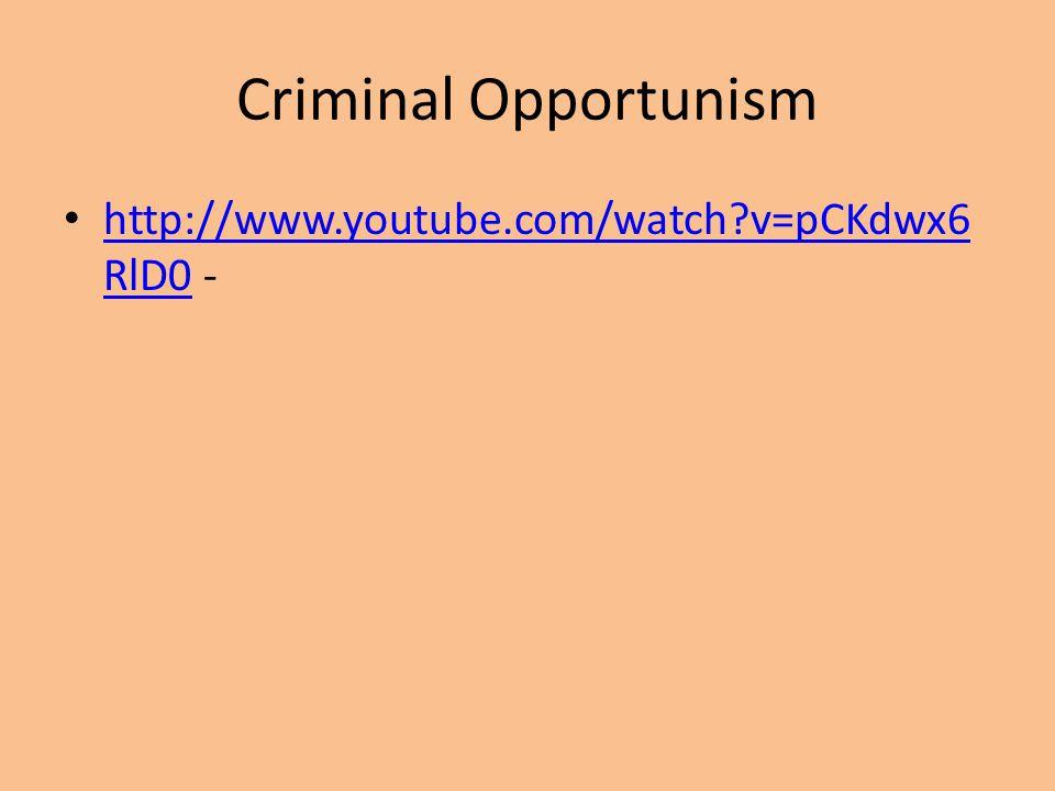 Criminal Opportunism http://www.youtube.com/watch v=pCKdwx6RlD0 -