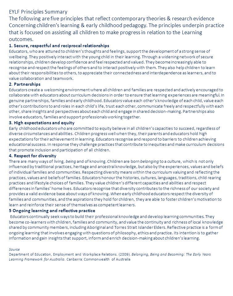 EYLF Principles Summary