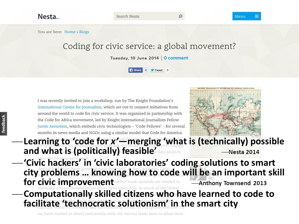 Learning to 'code for x'—merging 'what is (technically) possible and what is (politically) feasible' Nesta 2014