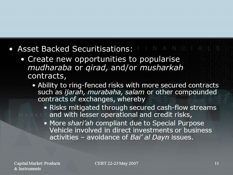 Asset Backed Securitisations: