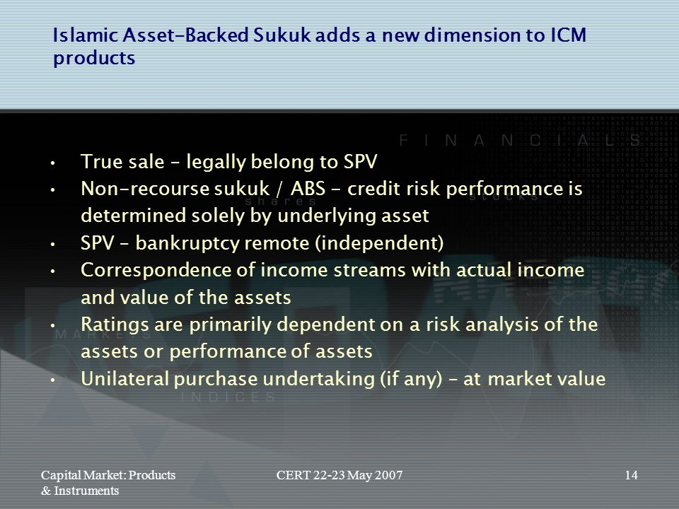 Islamic Asset-Backed Sukuk adds a new dimension to ICM products