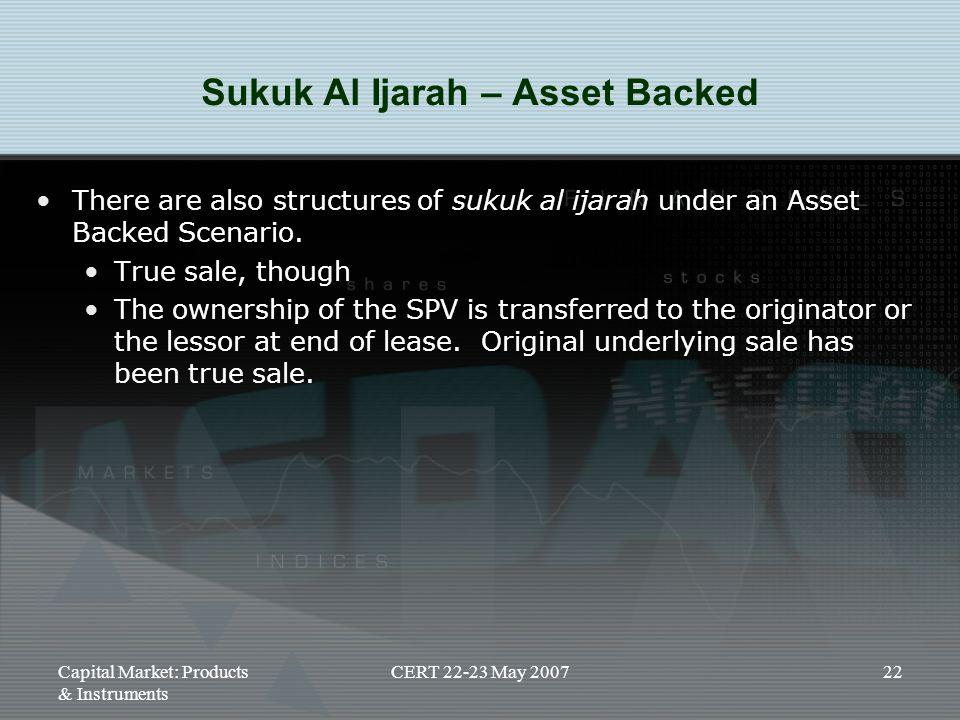 Sukuk Al Ijarah – Asset Backed