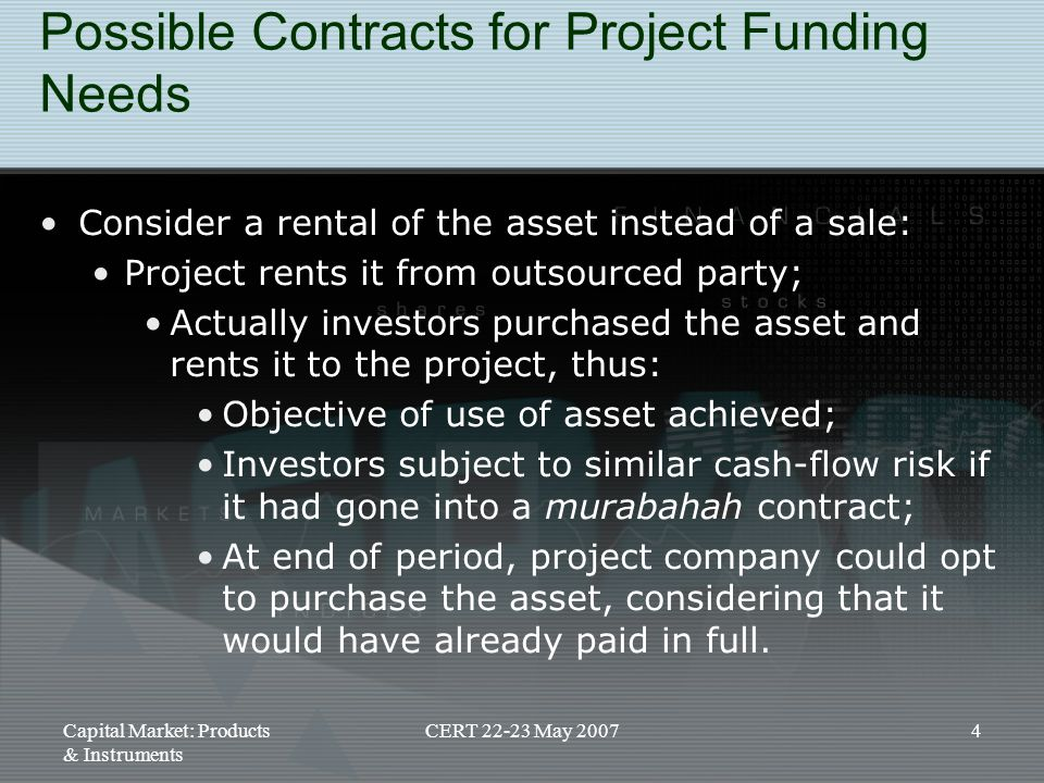 Possible Contracts for Project Funding Needs