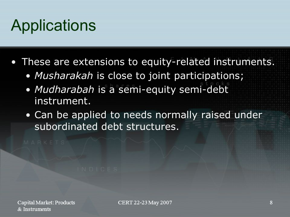 Applications These are extensions to equity-related instruments.