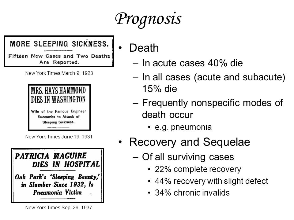 Prognosis Death Recovery and Sequelae In acute cases 40% die