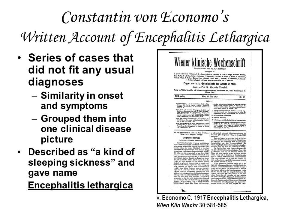 Constantin von Economo's Written Account of Encephalitis Lethargica