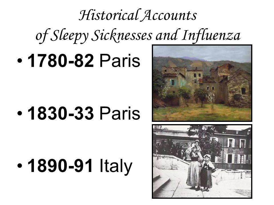 Historical Accounts of Sleepy Sicknesses and Influenza