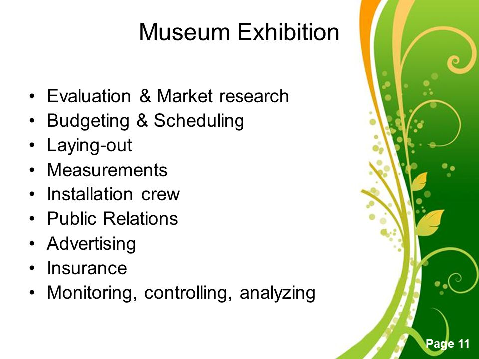 Museum Exhibition Evaluation & Market research Budgeting & Scheduling
