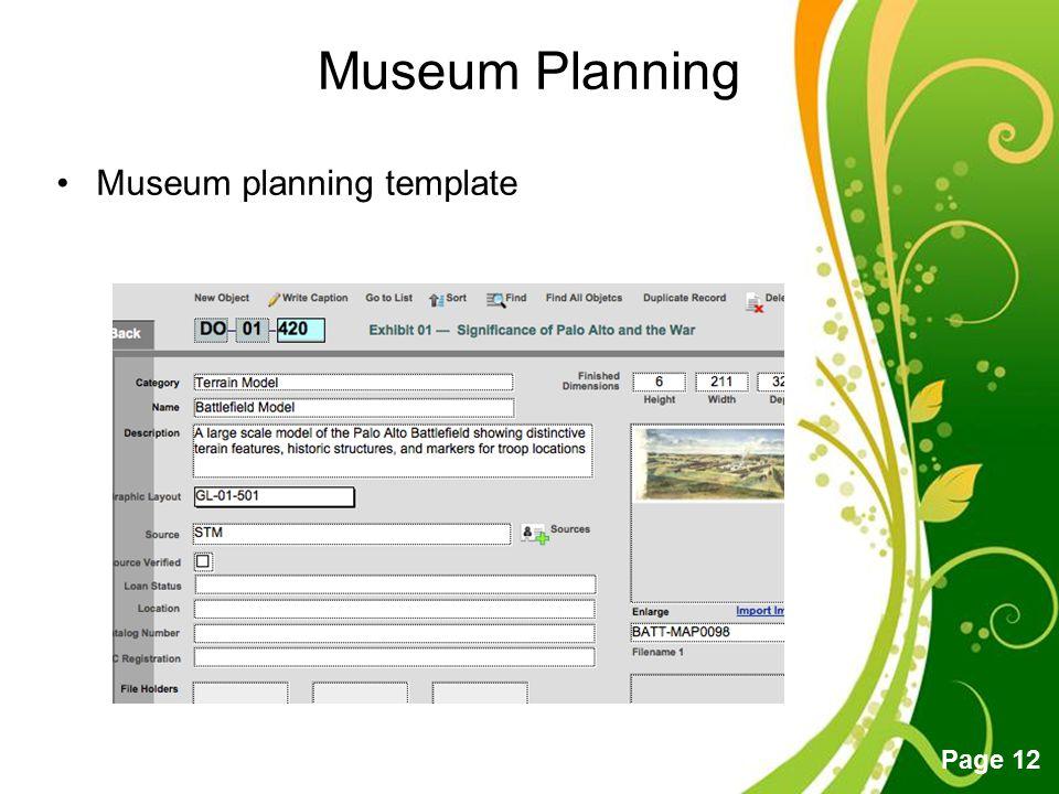 Museum Planning Museum planning template