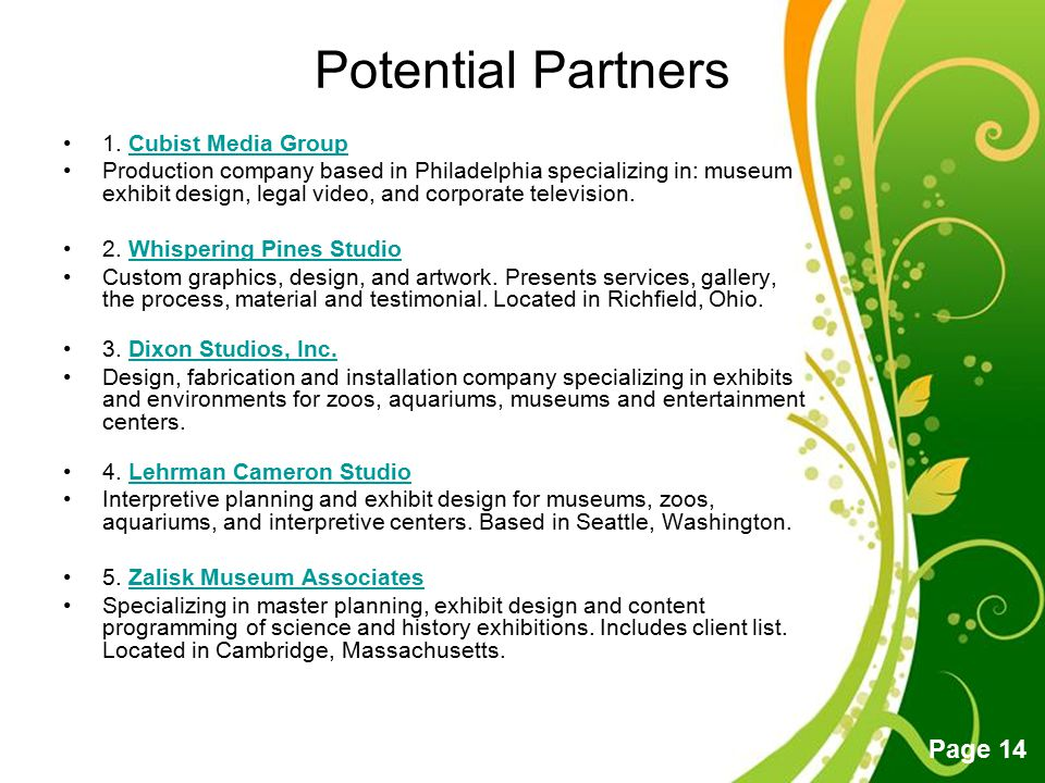 Potential Partners 1. Cubist Media Group