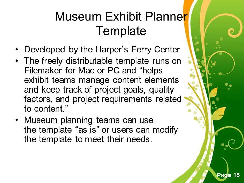 Museum Exhibit Planner Template
