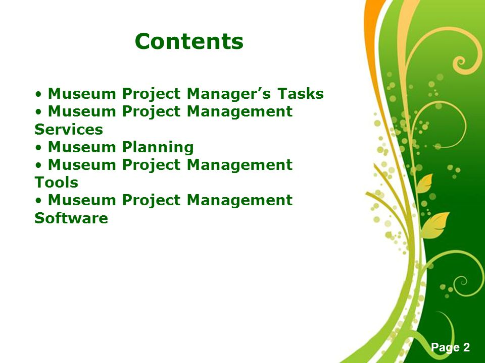 Contents Museum Project Manager's Tasks