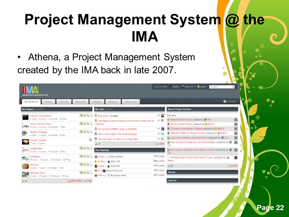 Project Management System @ the IMA