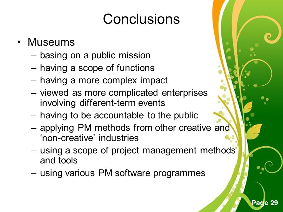 Conclusions Museums basing on a public mission
