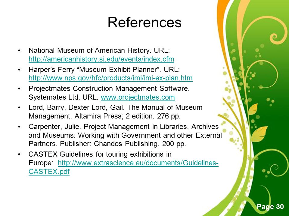 References National Museum of American History. URL: http://americanhistory.si.edu/events/index.cfm.