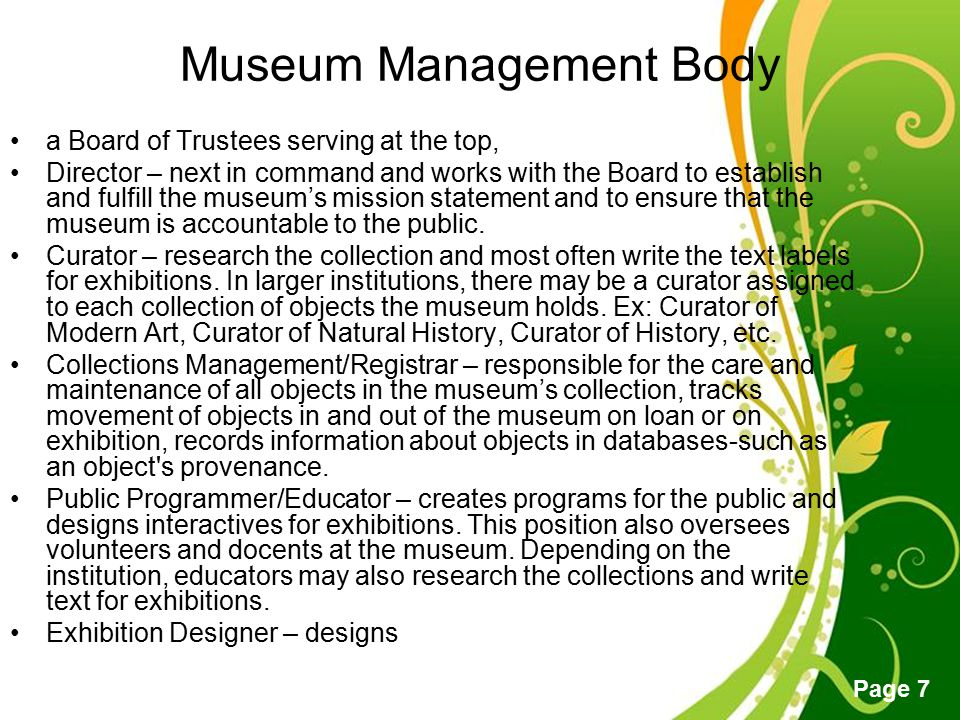 Museum Management Body