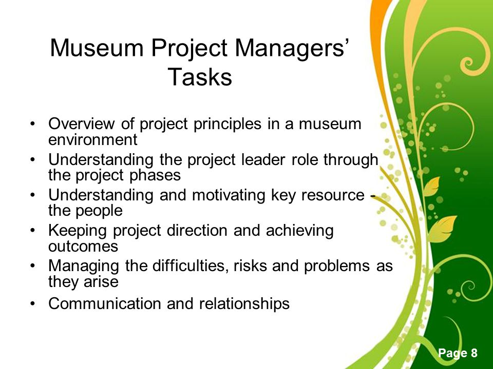 Museum Project Managers' Tasks