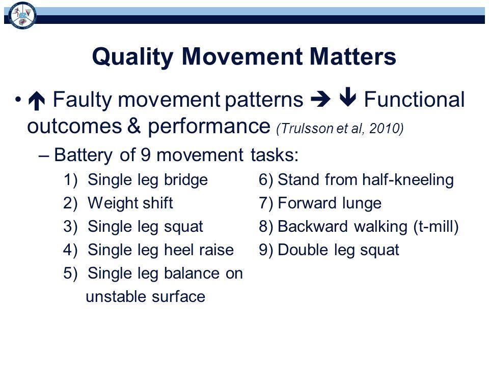 Quality Movement Matters