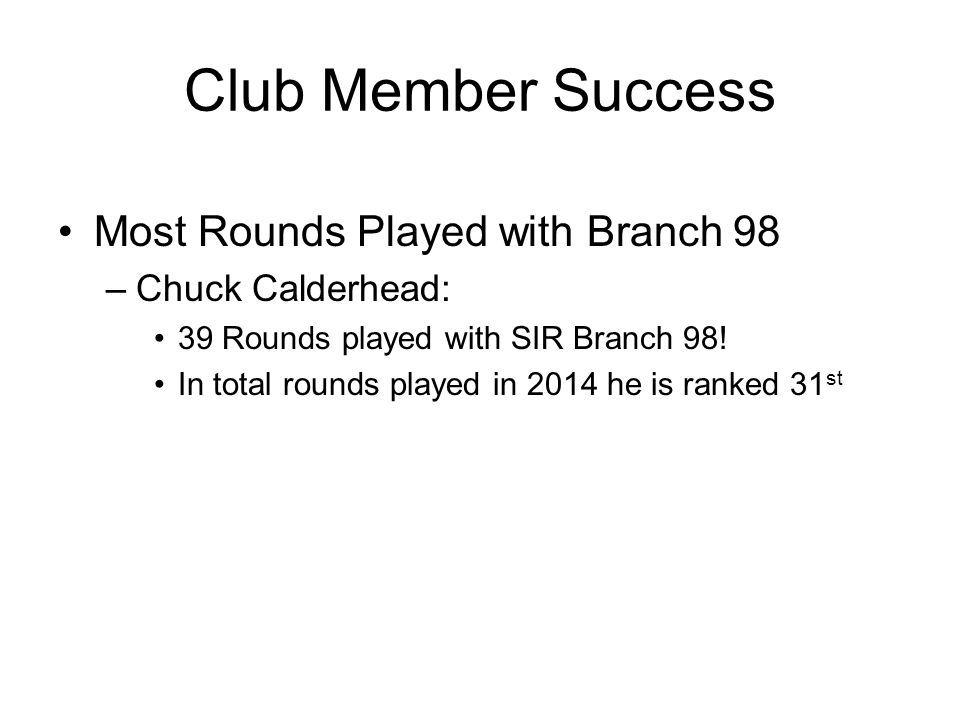 Club Member Success Most Rounds Played with Branch 98