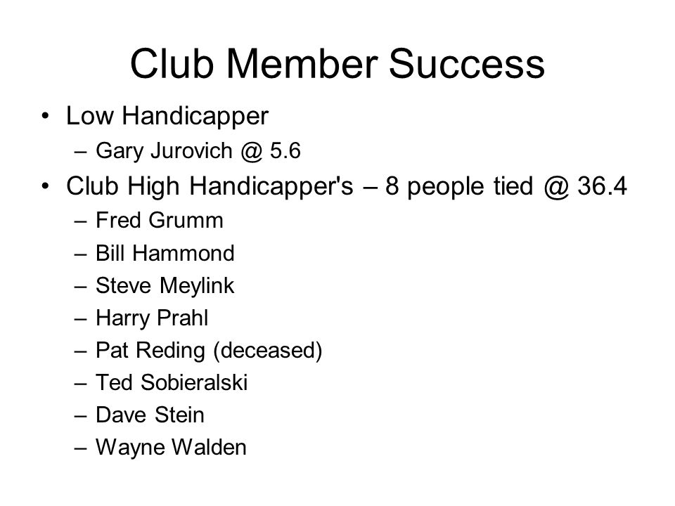 Club Member Success Low Handicapper