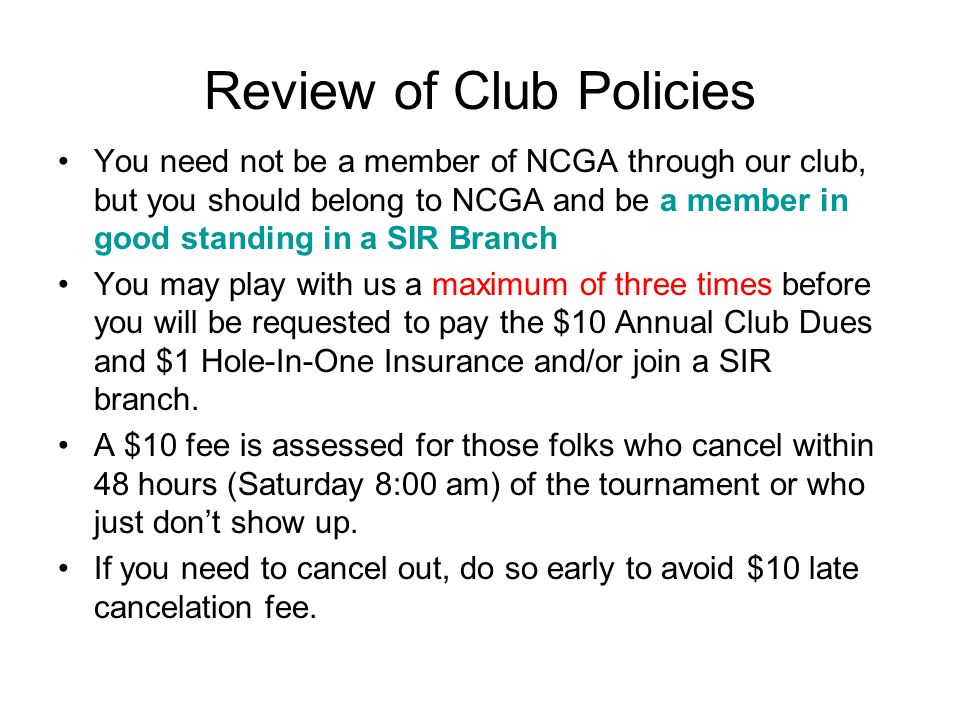 Review of Club Policies