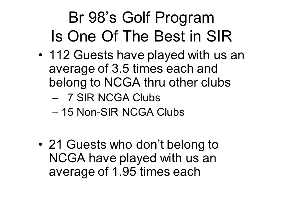 Br 98's Golf Program Is One Of The Best in SIR
