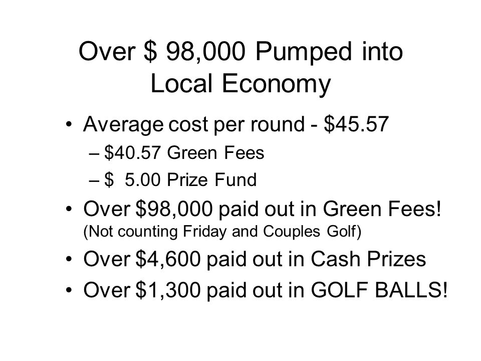 Over $ 98,000 Pumped into Local Economy