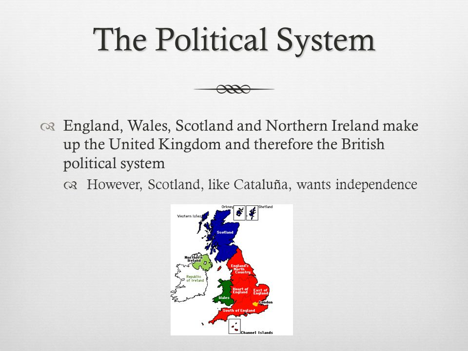 The Political System England, Wales, Scotland and Northern Ireland make up the United Kingdom and therefore the British political system.