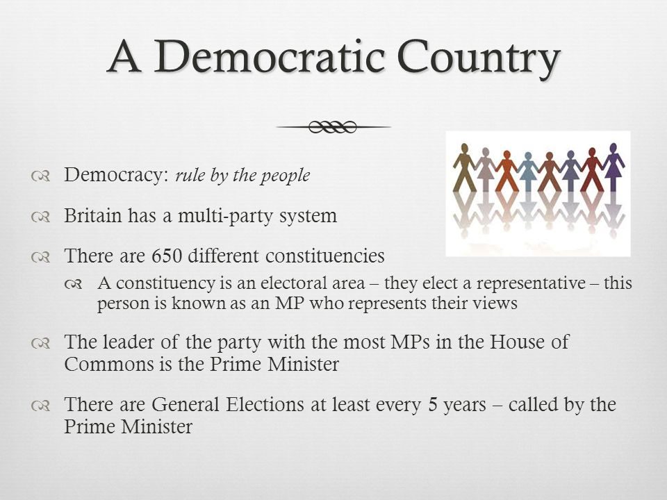 A Democratic Country Democracy: rule by the people