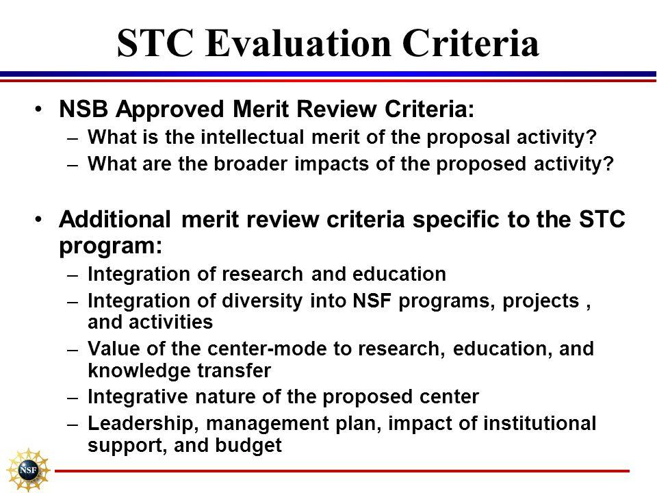 STC Evaluation Criteria