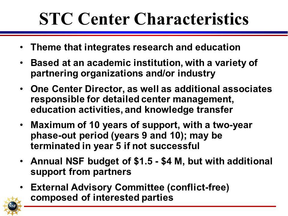 STC Center Characteristics
