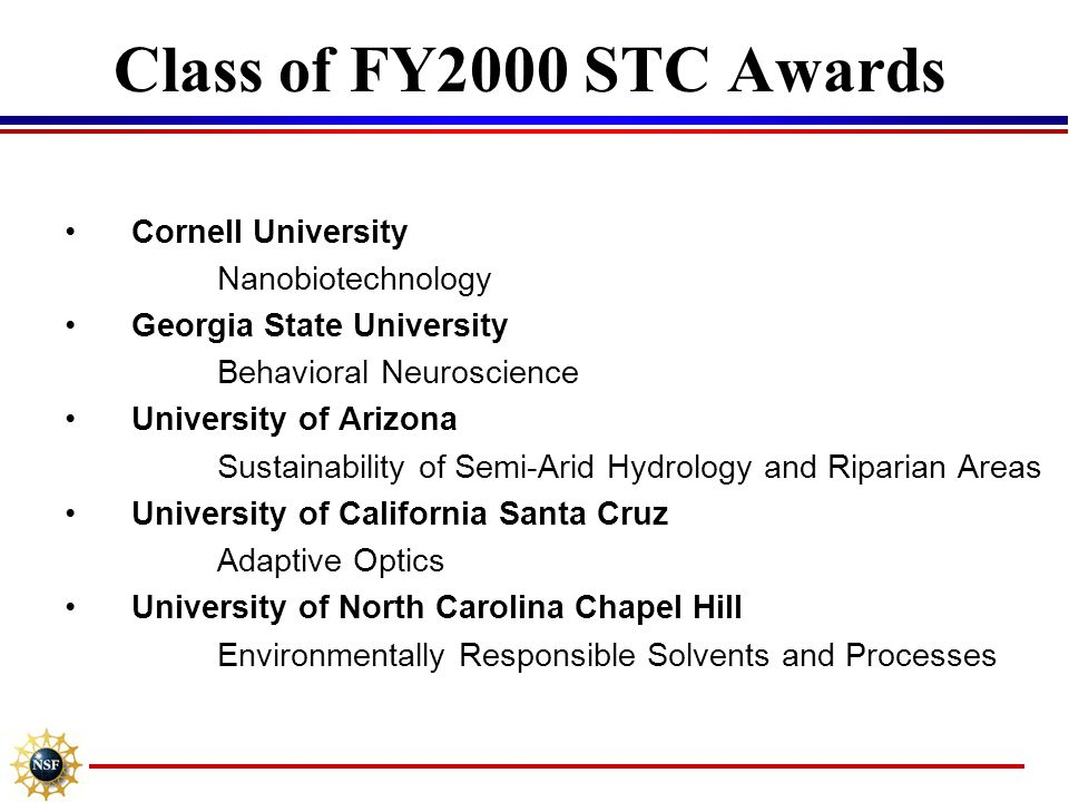 Class of FY2000 STC Awards Cornell University Nanobiotechnology