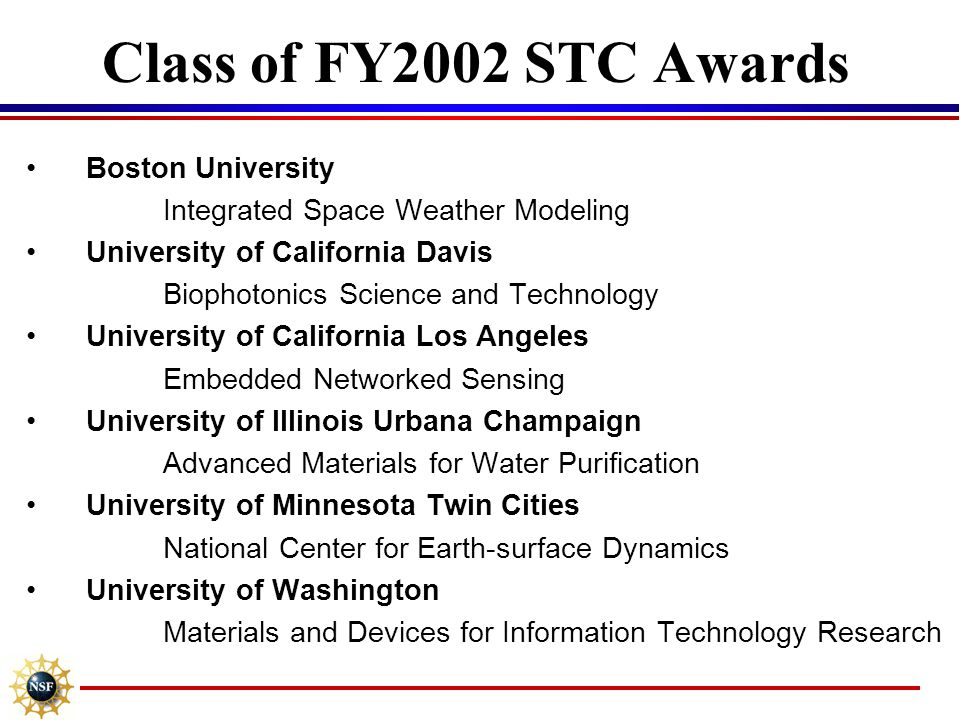 Class of FY2002 STC Awards Boston University