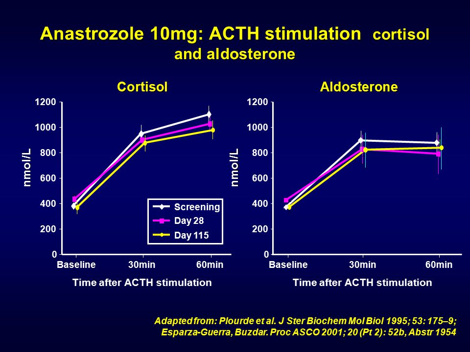 Anastrozole 10mg: ACTH stimulation cortisol and aldosterone
