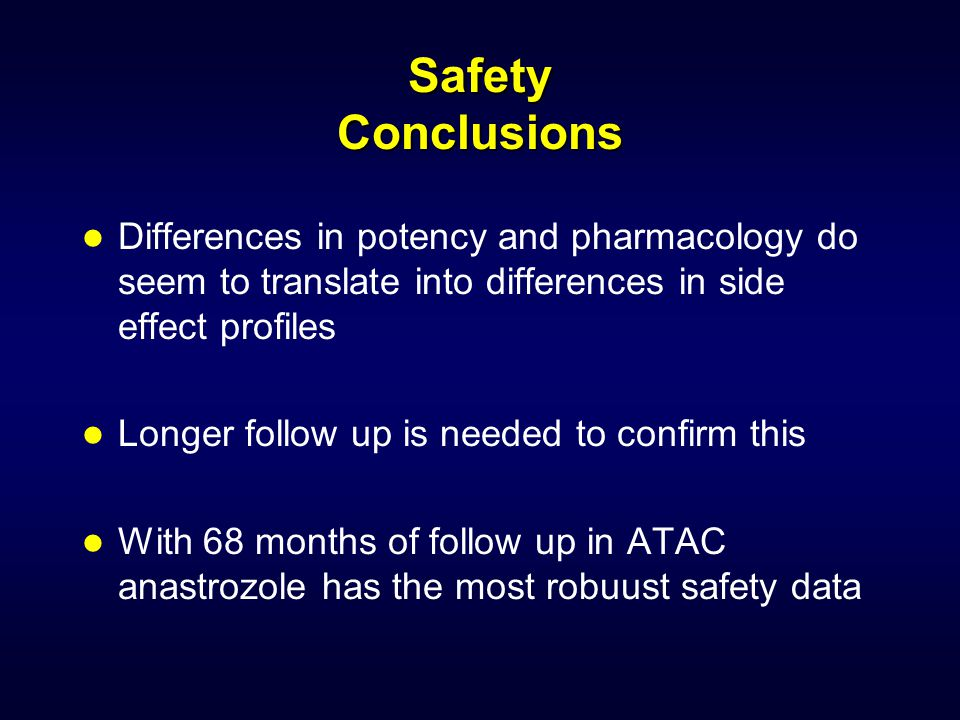 Safety Conclusions Differences in potency and pharmacology do seem to translate into differences in side effect profiles.